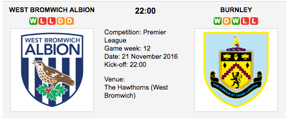 West Bromwich Albion vs Burnley: Match preview & Tips - 21/11/2016 EPL