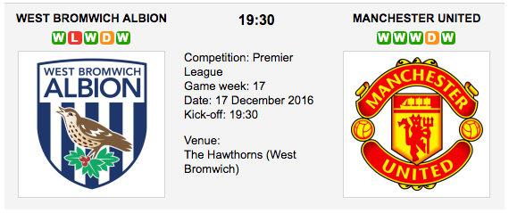 West Brom vs. Man. United: Match preview - 17/12/2016 EPL