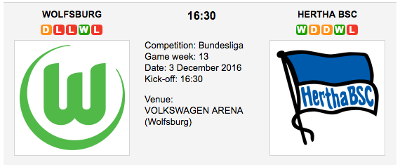 Wolfsburg vs. Hertha BSC: Bundesliga Preview 2016